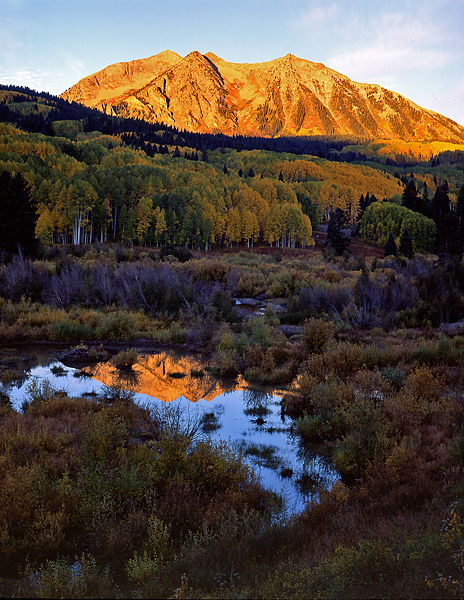 Sunrise overlooking East Beckwith Peak, along Kebler Pass Road.